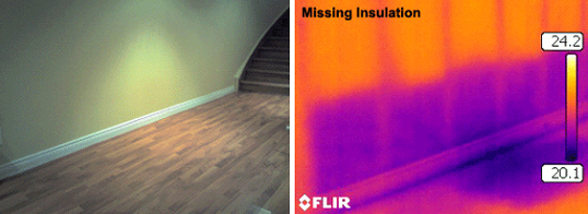 Infrared camera Home inspection reveals missing insulation